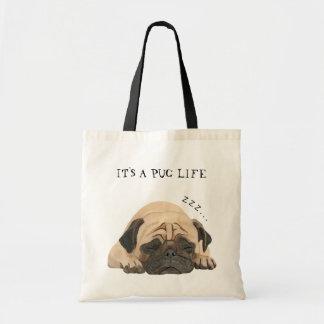 Sleeping Pug Illustrated Tote Bag