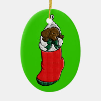 Sleeping Puppy in Christmas Stocking Christmas Ornament