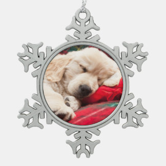 Sleeping Puppy On Plaid Snowflake Pewter Christmas Ornament