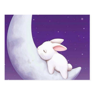 sleeping  rabbit postcard. postcard