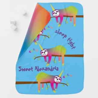 Sleeping Rainbow Slothicorns Custom Name Baby Blanket