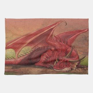 Sleeping red dragon tea towel