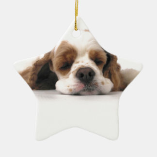 Sleeping Red/White Cocker Spaniel Christmas Ornament