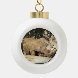 Sleeping Rhino Ceramic Ball Christmas Ornament