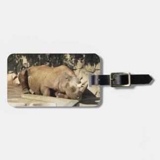 Sleeping Rhino Luggage Tag