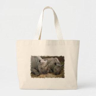 Sleeping Rhinos Canvas Bag