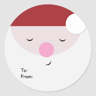 Sleeping Santa Christmas Tag, To:From: Round Sticker