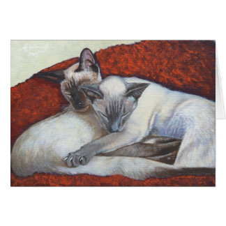 Sleeping Siamese Cat Art Card