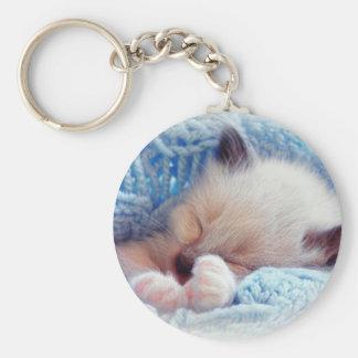 Sleeping Siamese Kitten Paws Key Ring