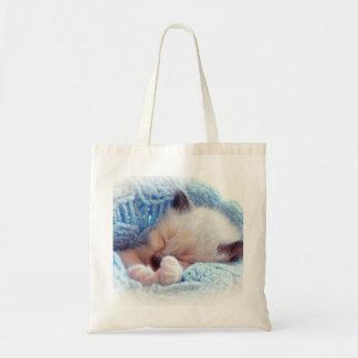 Sleeping Siamese Kitten Paws Tote Bag