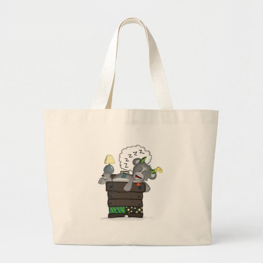 Sleeping Sock Drawer Monster Digital Art Canvas Bags