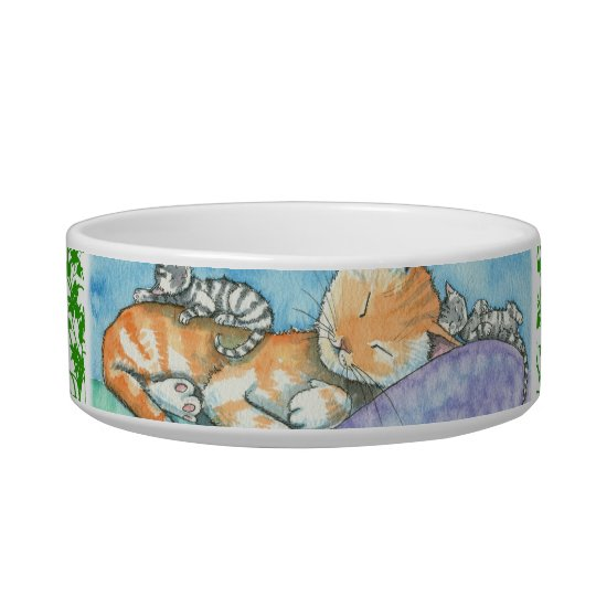 Sleeping Tabby Cat and Kittens Bowl