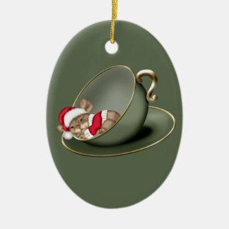 Sleeping Tea Cup Mouse 2 Sided Christmas Ornament