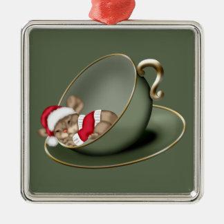 Sleeping Tea Cup Mouse Christmas Ornament