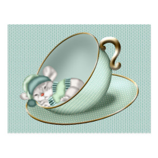 Sleeping Tea Cup Mouse Postcard