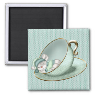 Sleeping Tea Cup Mouse Square Magnet