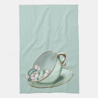 Sleeping Tea Cup Mouse Tea Towel
