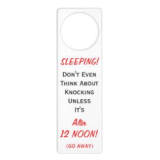 Sleeping Til Noon Go Away Don't Even Knock Funny Door Hanger