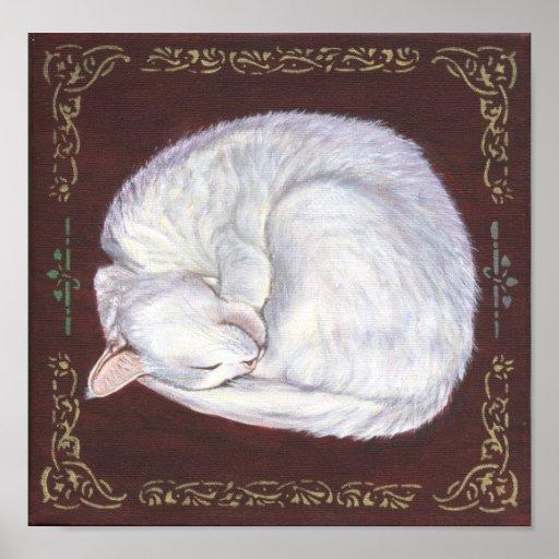 """""""Sleeping Treasure"""" white cat art poster"""