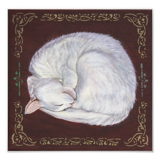 """Sleeping Treasure"" white cat art poster"