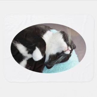 sleeping tuxedo cat chin view kitty image receiving blankets
