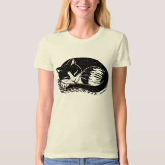Sleeping Tuxedo Cat Ladies Organic T-Shirt
