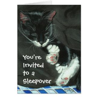 Sleeping Tuxedo Cat Sleepover Party Invitation