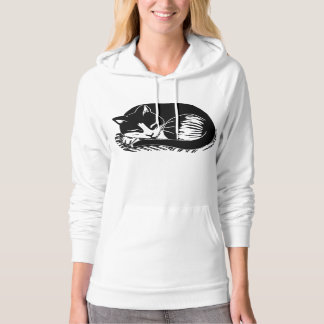 Sleeping Tuxedo Cat Women's Fleece Pullover Hoodie