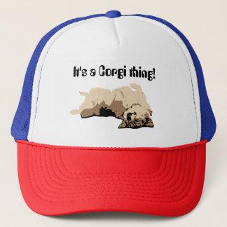 Sleeping Welsh Corgi Trucker Hat