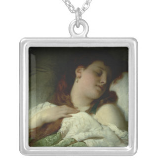 Sleeping Woman Silver Plated Necklace