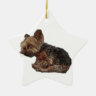 Sleeping Yorkie Christmas Ornament