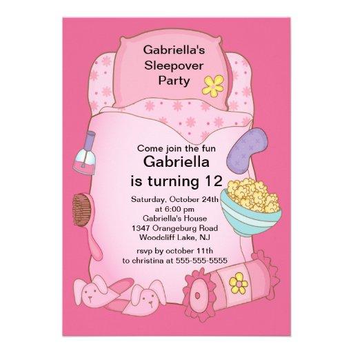 Sleepover Birthday Party Personalized Invite