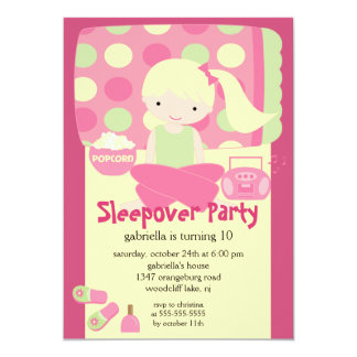 Sleepover Birthday Party 5x7 Paper Invitation Card