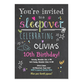 Sleepover Invitation Slumber Party Pajamas Girl