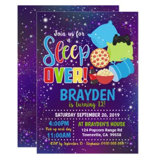 Sleepover Party Invitation Slumber Party Boy