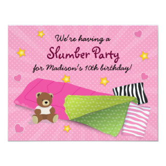 Sleepover Party Pink Card