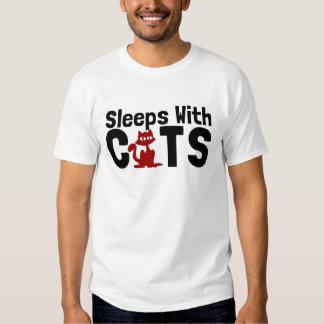 sleeps with cats tshirt