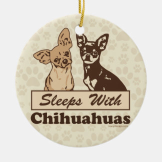 Sleeps With Chihuahuas Christmas Ornament