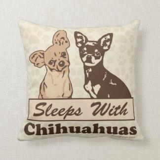 Sleeps With Chihuahuas Throw Cushion