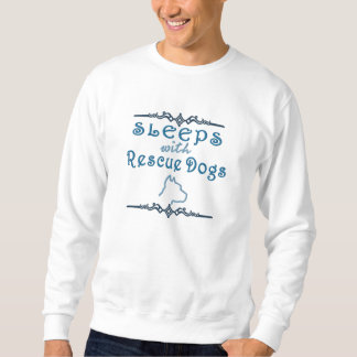 Sleeps With Rescue Dogs (blue) Embroidered Sweatshirt