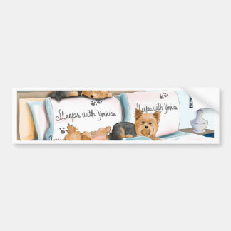 Sleeps with Yorkies by Catia Cho Bumper Stickers
