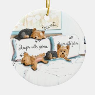 Sleeps with Yorkies by Catia Cho Christmas Ornament