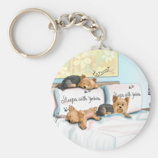 Sleeps with Yorkies by Catia Cho Key Ring