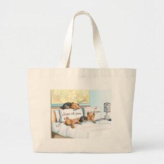 Sleeps with Yorkies Large Tote Bag