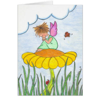 Sleepy Angel on Flower Card