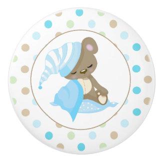 Sleepy Baby Bear Blue Ceramic Knob