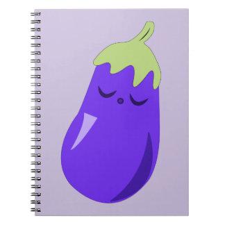 Sleepy Baby Eggplant Notebook