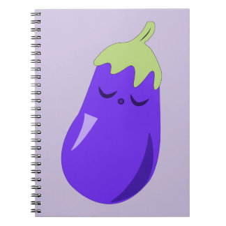 Sleepy Baby Eggplant Spiral Notebook