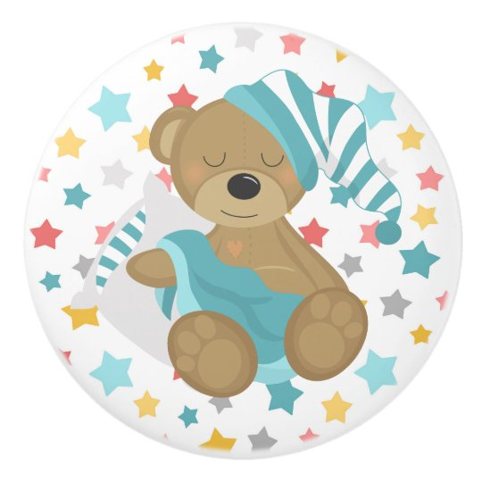 Sleepy Bear Baby Boy Ceramic Knob