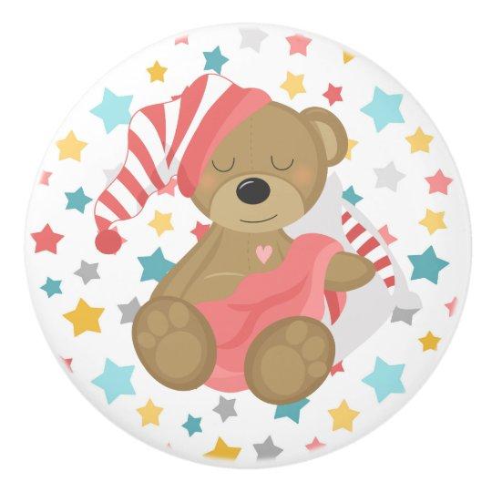 Sleepy Bear Baby Girl Ceramic Knob